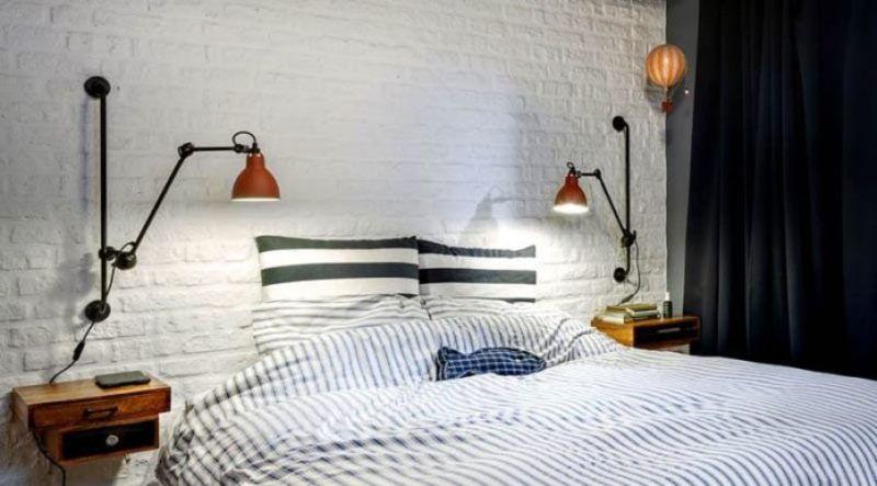 освещение в спальне в стиле лофт