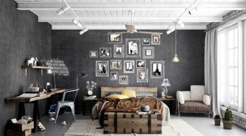 спальня в стиле лофт с элементами минимализма