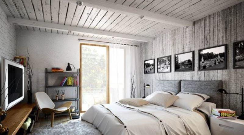 красивые спальни в стиле лофт