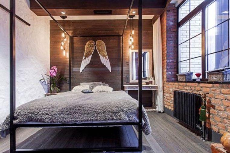 спальня для девушки в стиле лофт