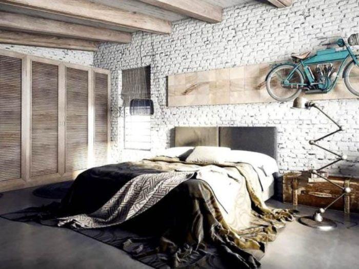 мужская спальня в стиле лофт фото 49