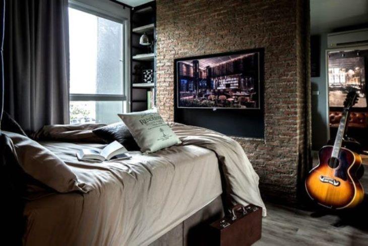 мужская спальня в стиле лофт