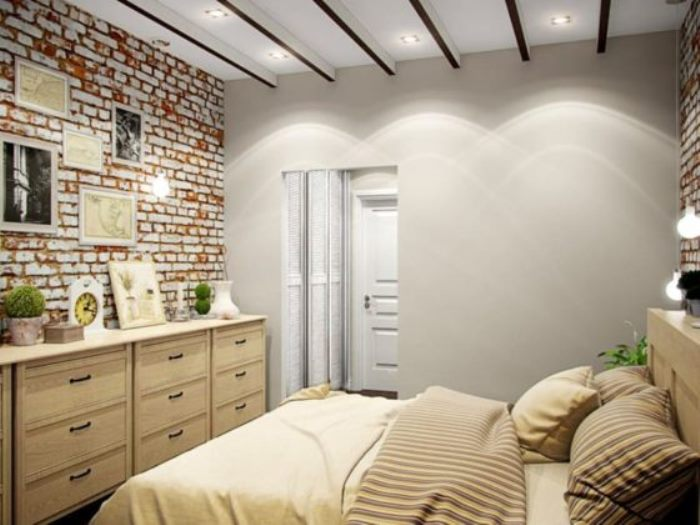 маленькая спальня в стиле лофт фото 55
