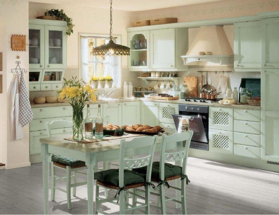 кухня в стиле кантри в деревянном доме