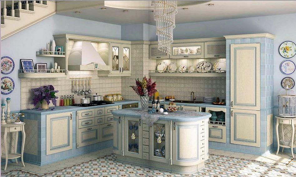 кухня кантри стиль голубая