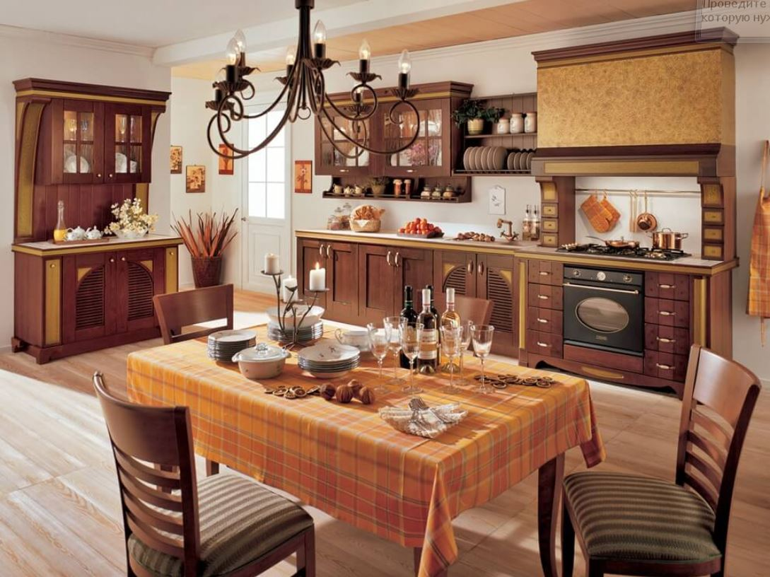 кухни в стиле кантри в частном доме