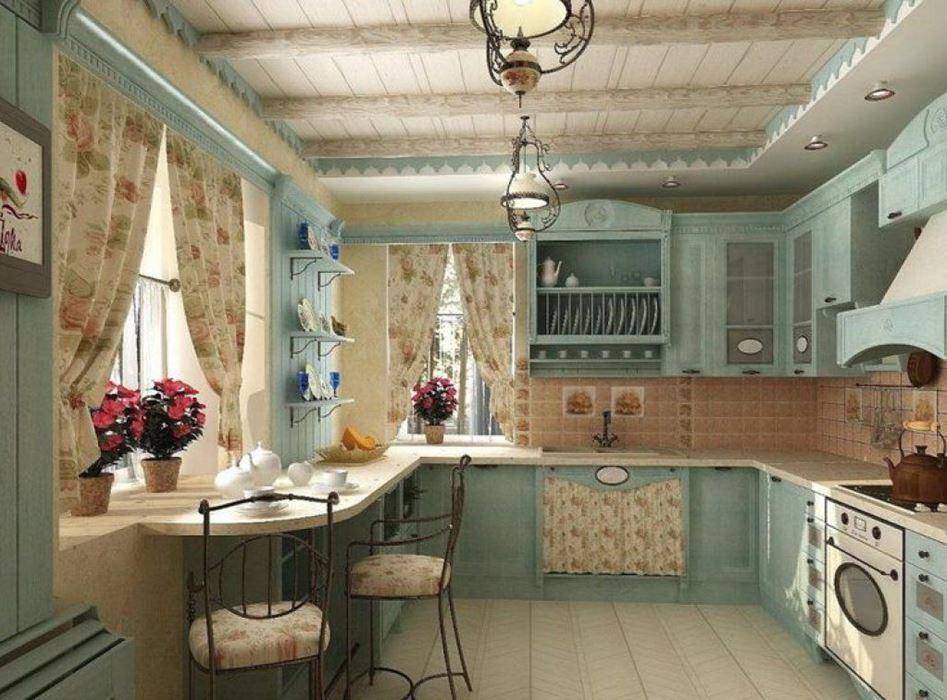 кухня в стиле кантри в малогабаритной квартире