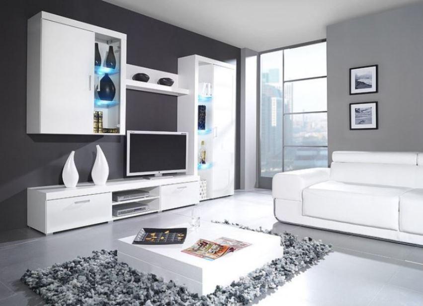 белая мебель для гостиной в современном стиле фото